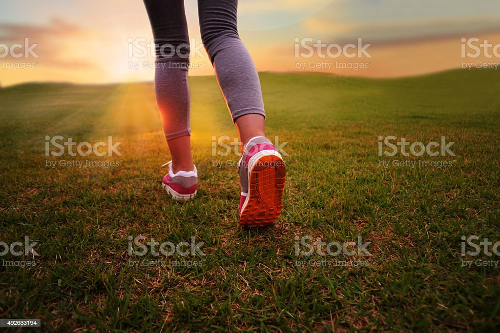 After the closeup view of woman legs stock photo