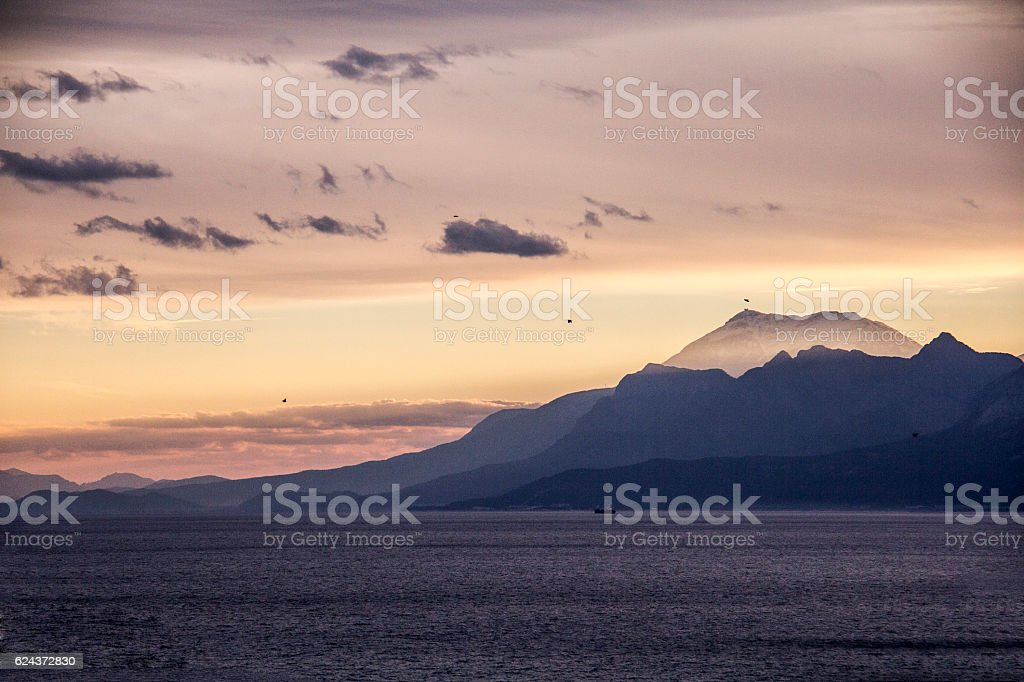 After the light beam of the mountains and the sunset. stock photo