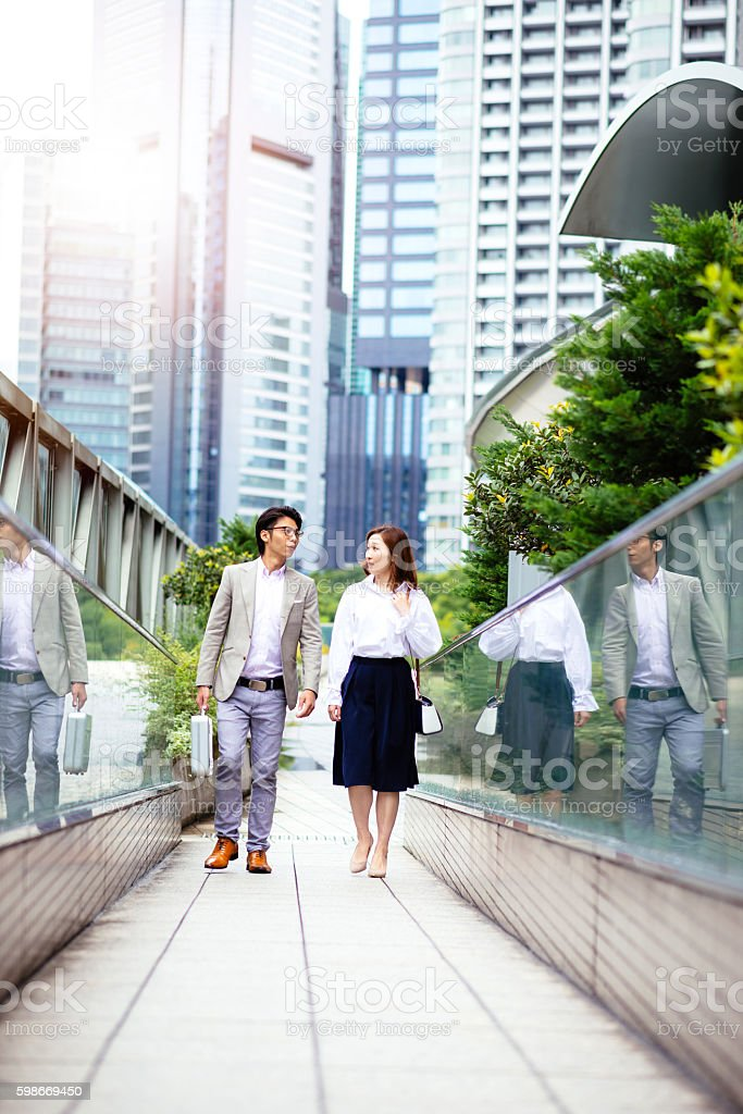 After work business people going home in Japan stock photo