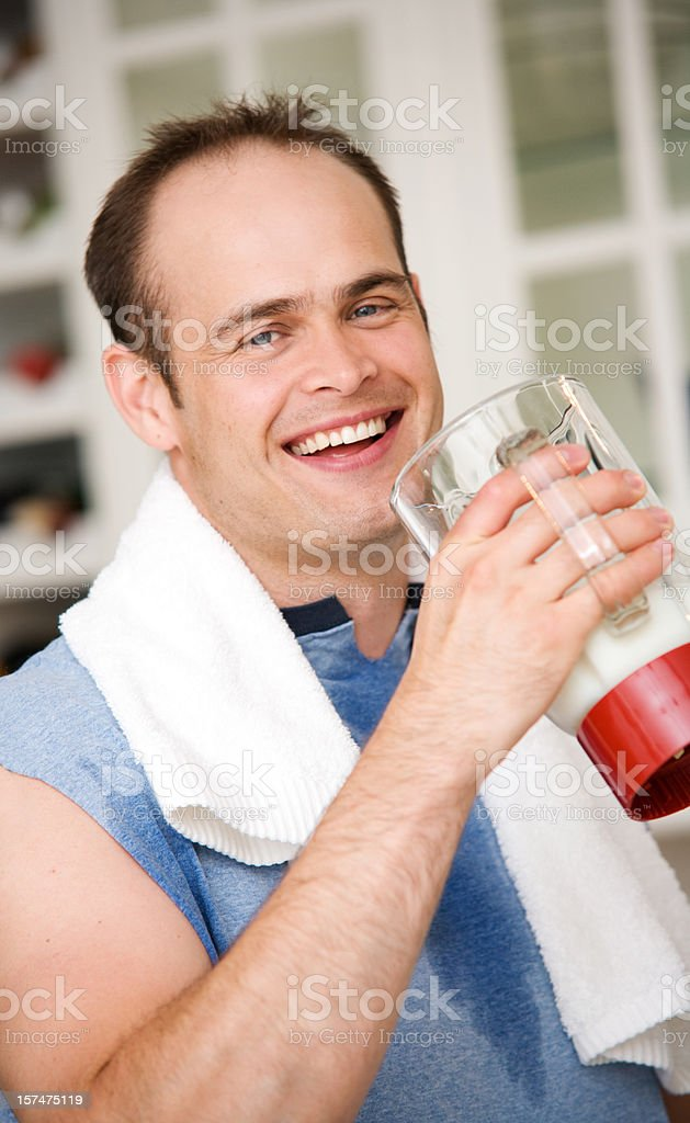 After Workout Protein Shake Man with Egg royalty-free stock photo