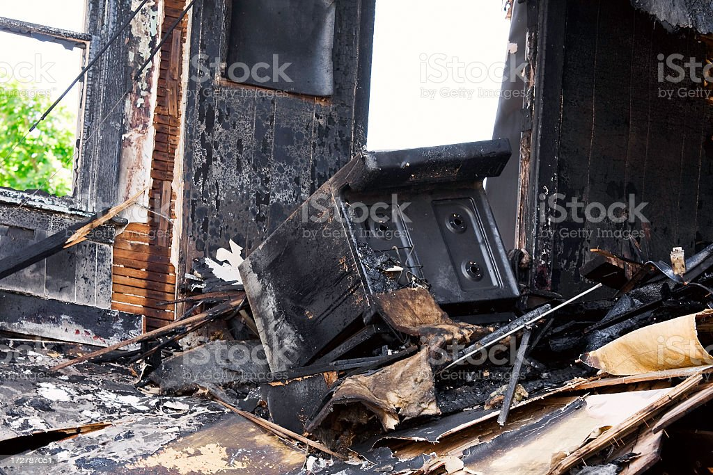 After-effects of a kitchen fire that destroyed the room stock photo