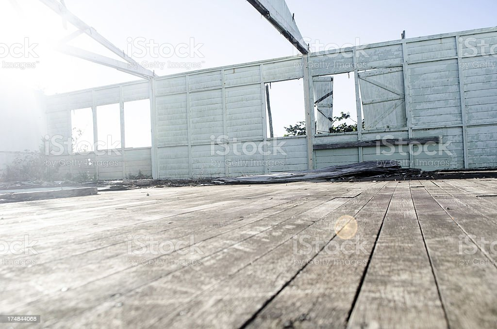 aftermath; abandoned building and sunbeam royalty-free stock photo