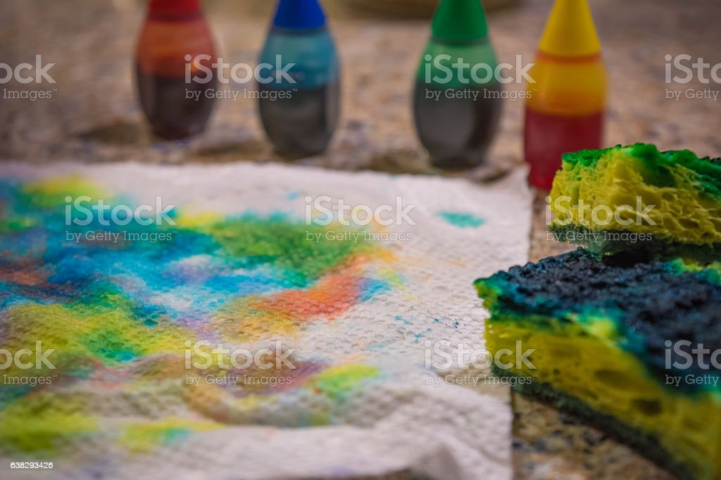 Aftermath of Dying Easter Eggs stock photo