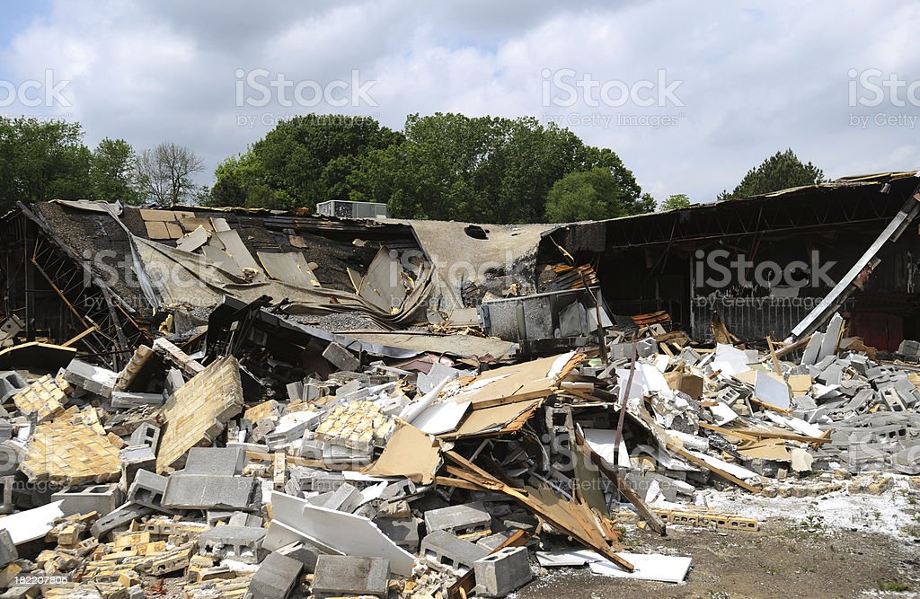 Aftermath of fire stock photo