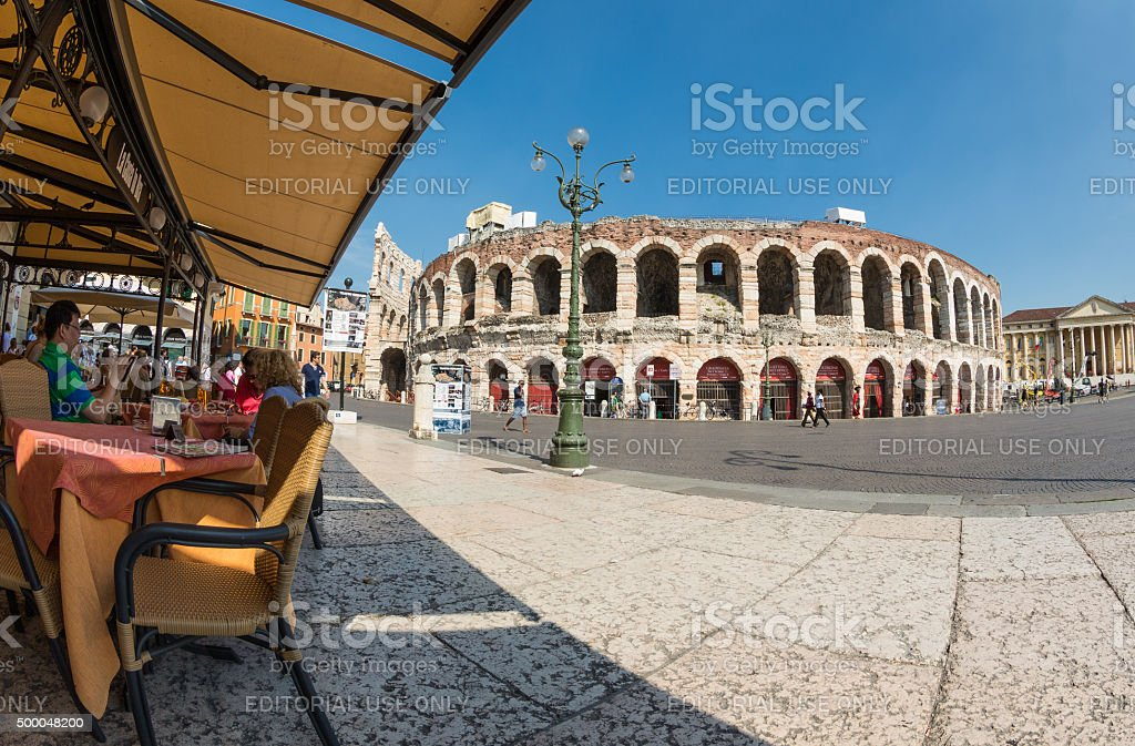 Afternoon at Piazza Bra, Verona, Italy stock photo