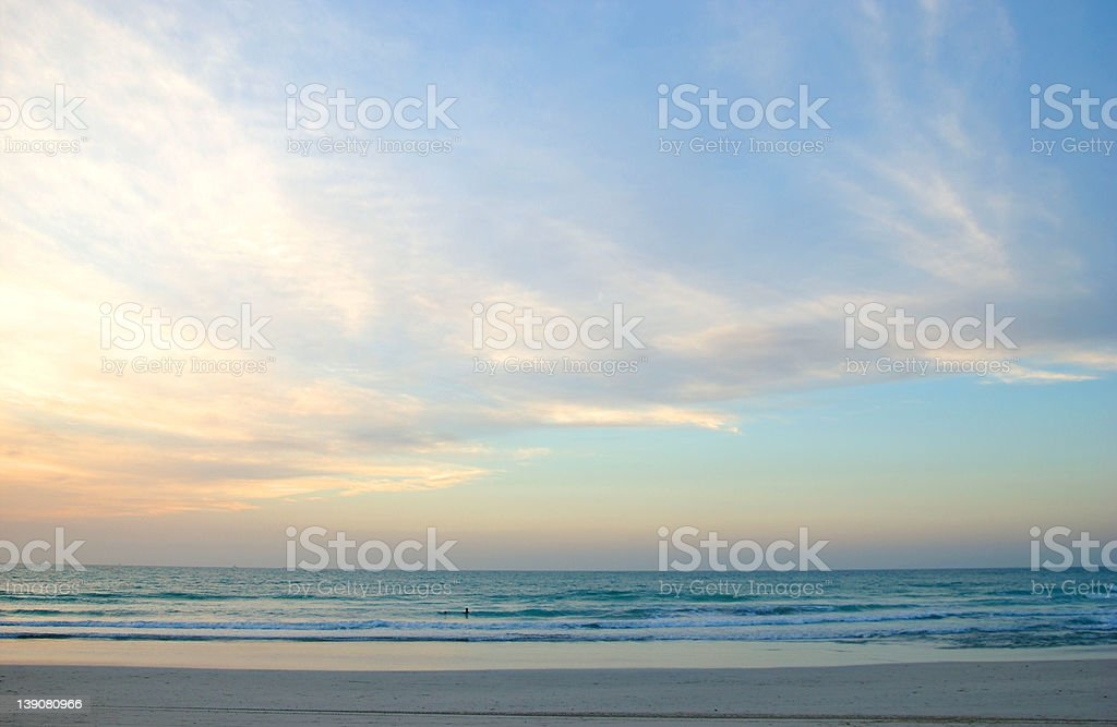 afternoon beach scene with big sky stock photo