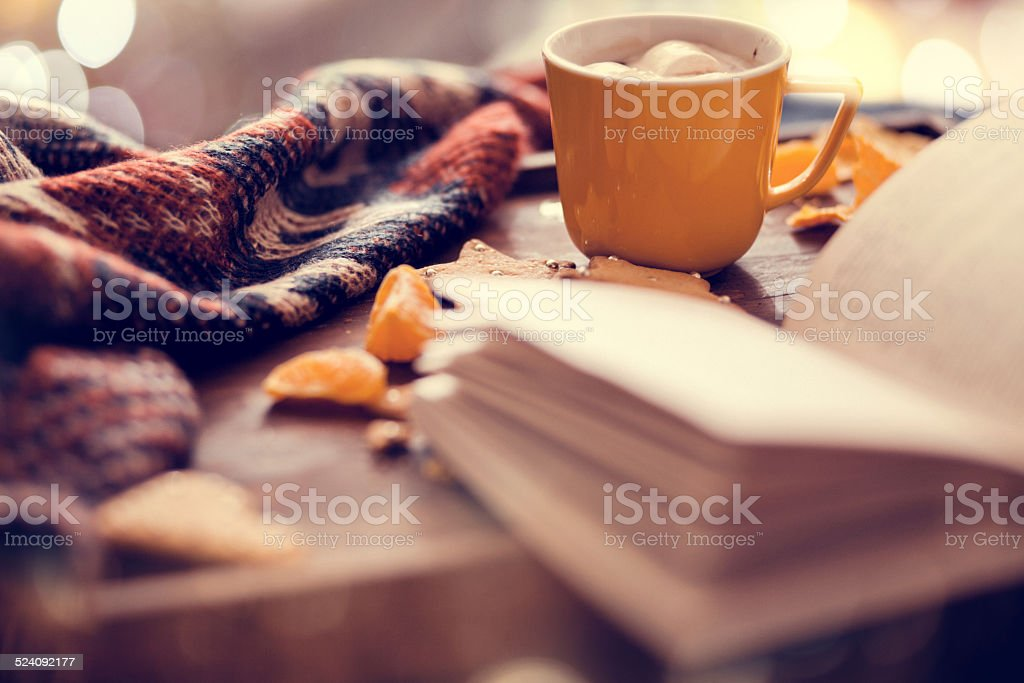 afternoon hot chocolate at Christmas stock photo