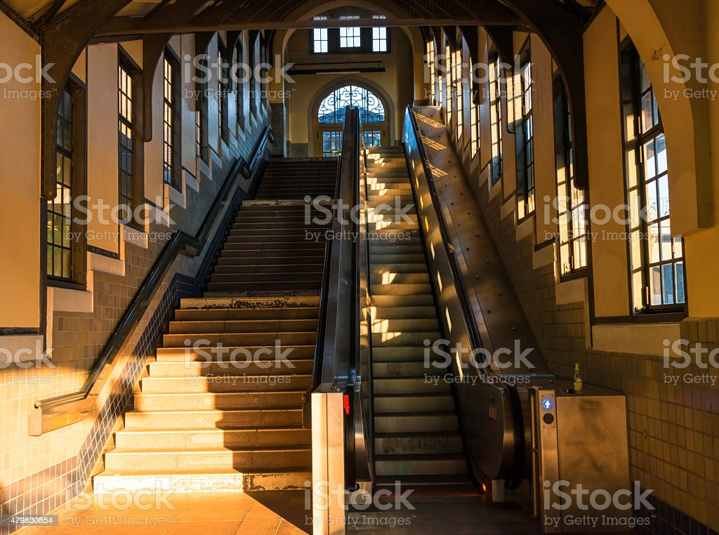 Afternoon in a Berlin S-Bahn station with escalator stock photo