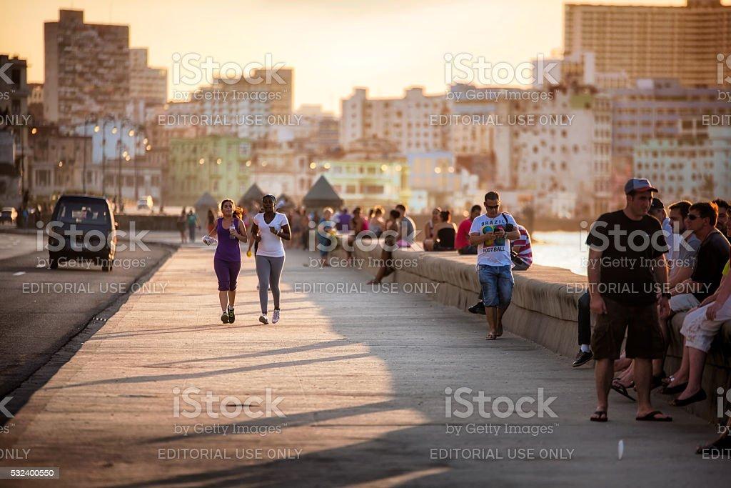 Afternoon life on Malecon street in Havana, Cuba stock photo