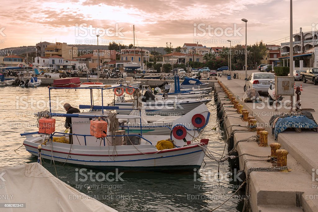 Afternoon or evening in Greek Island harbor stock photo
