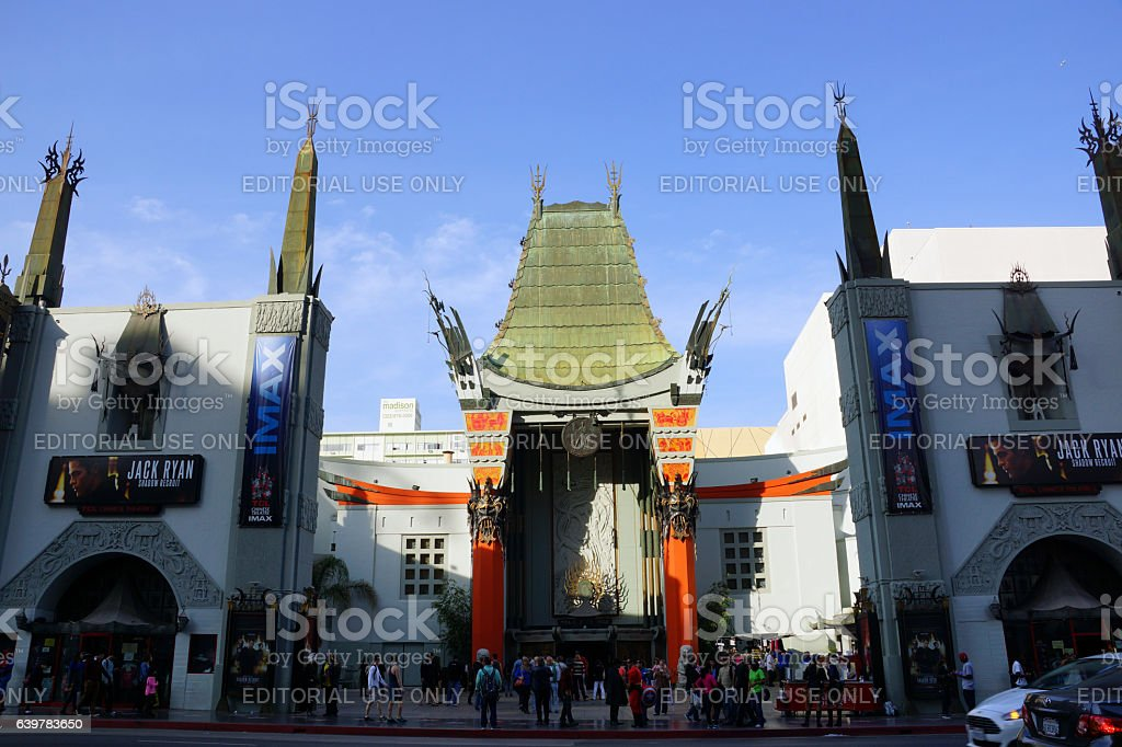 Afternoon shadow casts on Grauman's Chinese Theater with IMAX stock photo