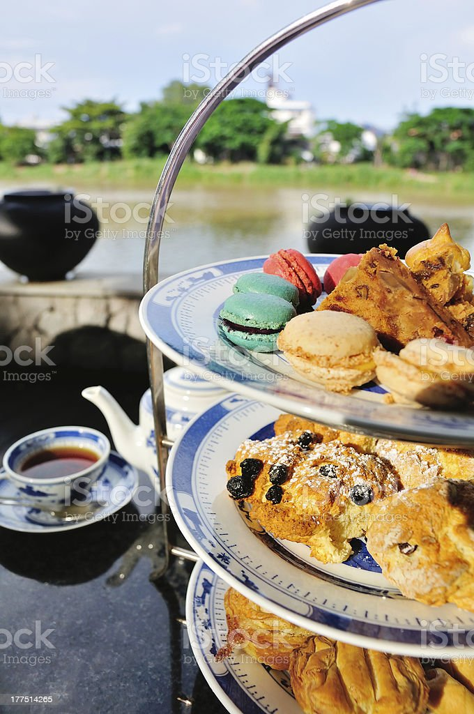 Afternoon tea and pastries royalty-free stock photo