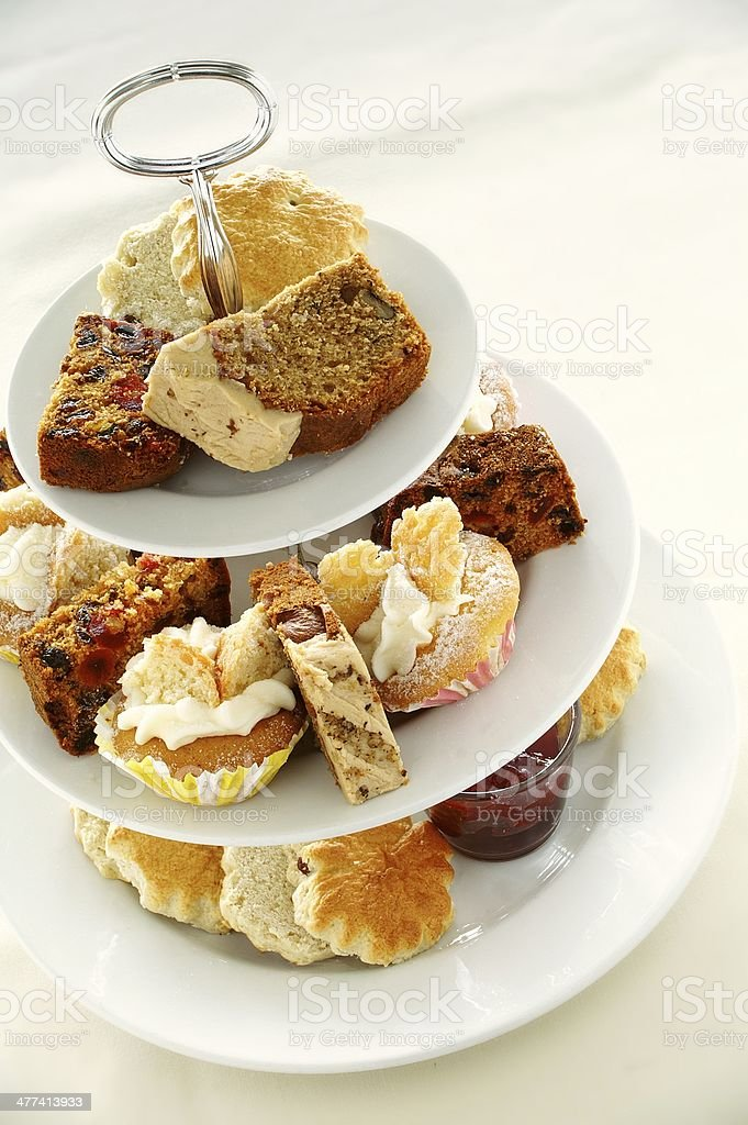 afternoon tea cake and sandwich stock photo