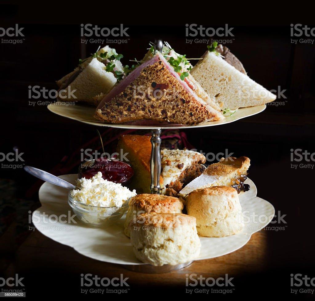 Afternoon Tea Food In Raking Light stock photo