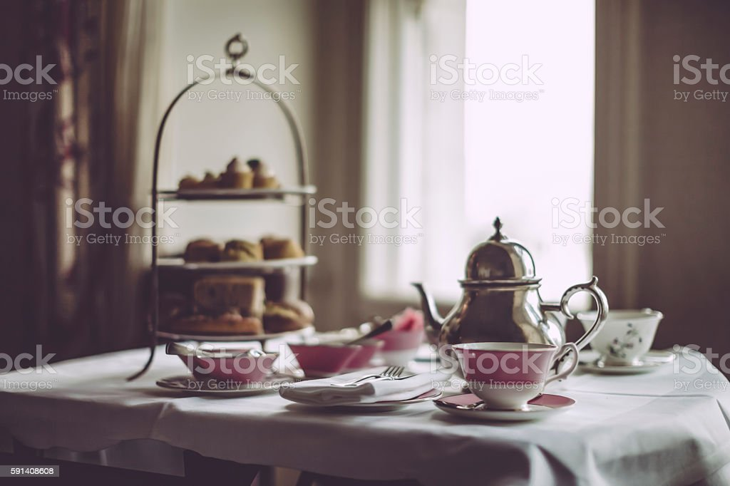 Afternoon tea for two stock photo