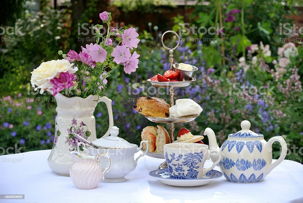 Afternoon Tea in a Country Garden stock photo