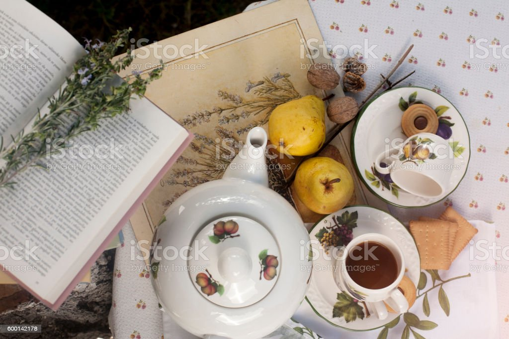 Afternoon Tea in a garden stock photo