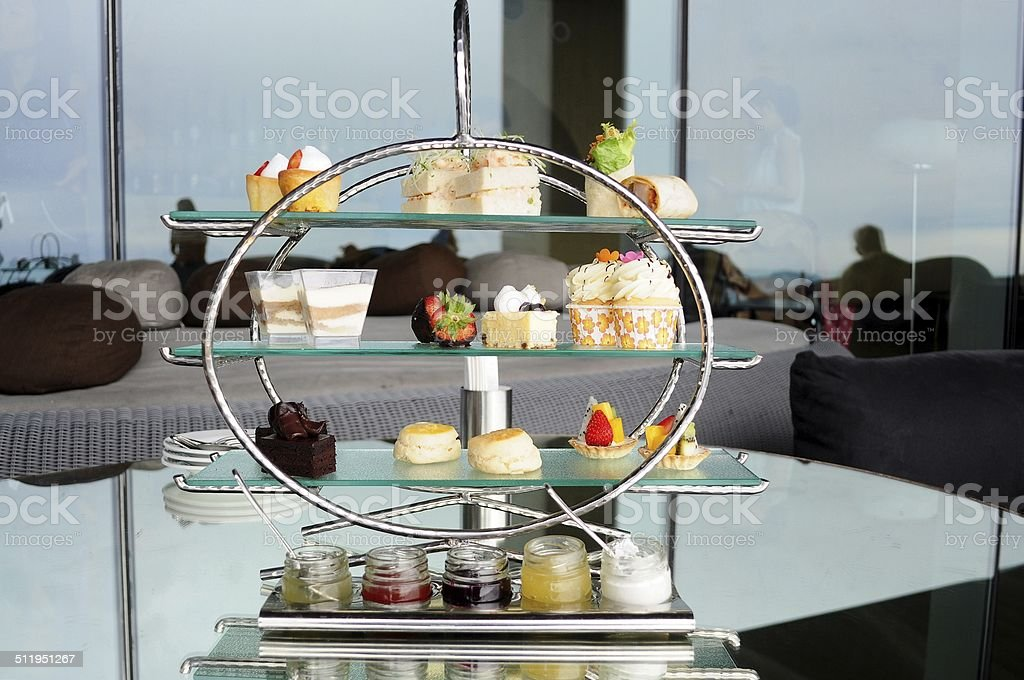 Afternoon tea set of pastries collection stock photo