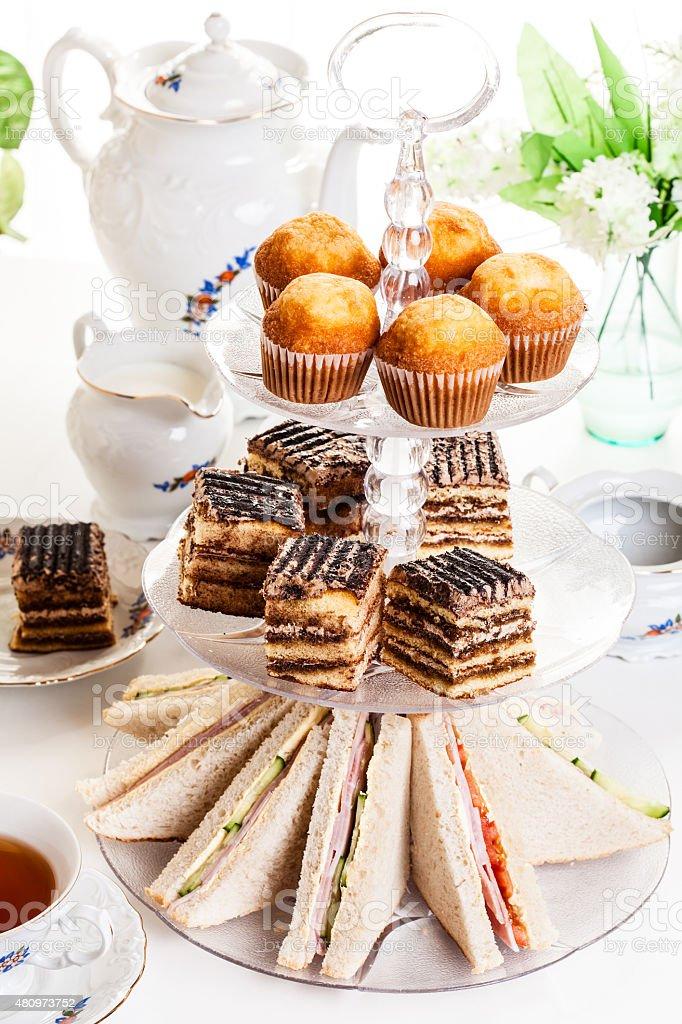 Afternoon tea set stock photo