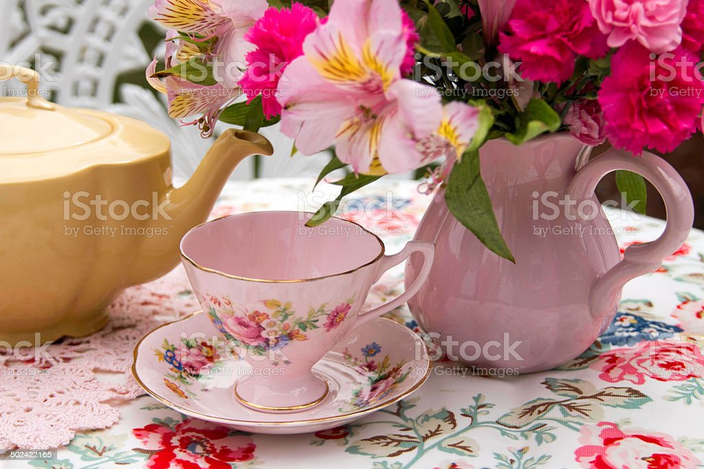 Afternoon Tea with China Tea Cups stock photo