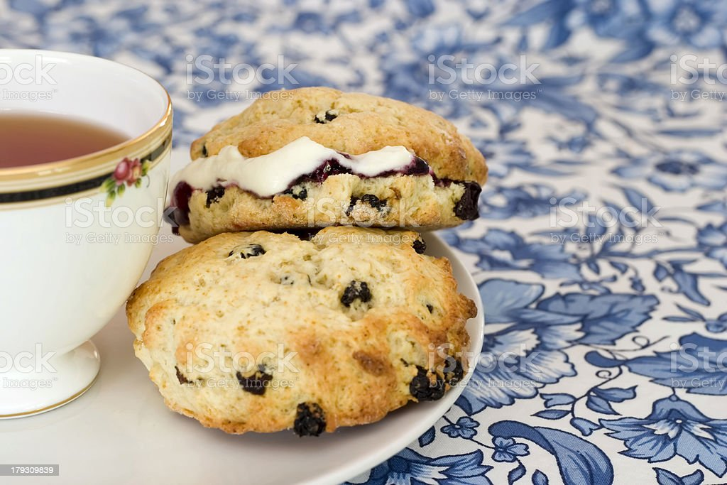 Afternoon tea with scones stock photo