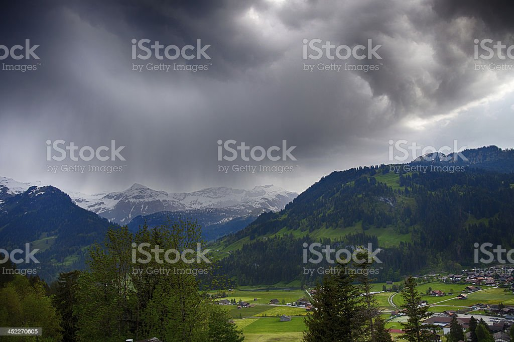 Afternoon Thunder Storm, Swiss Alps stock photo