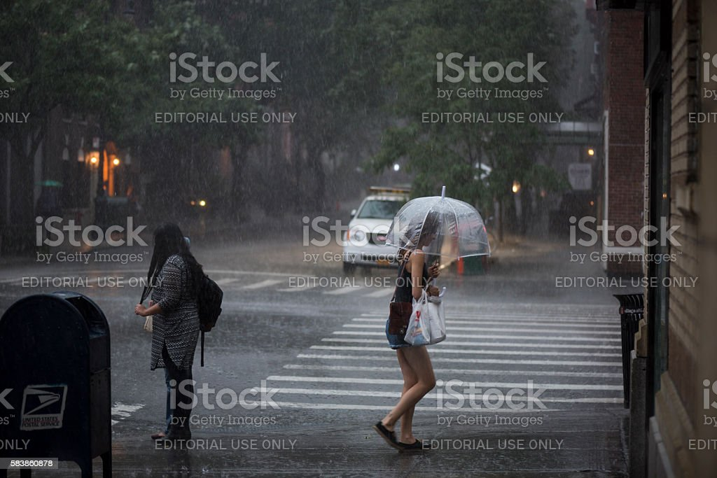 Afternoon thunderstorm in New York City stock photo