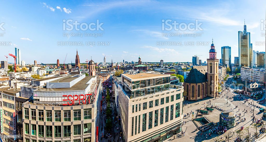 afternoon view of Frankfurt City Hauptwache stock photo