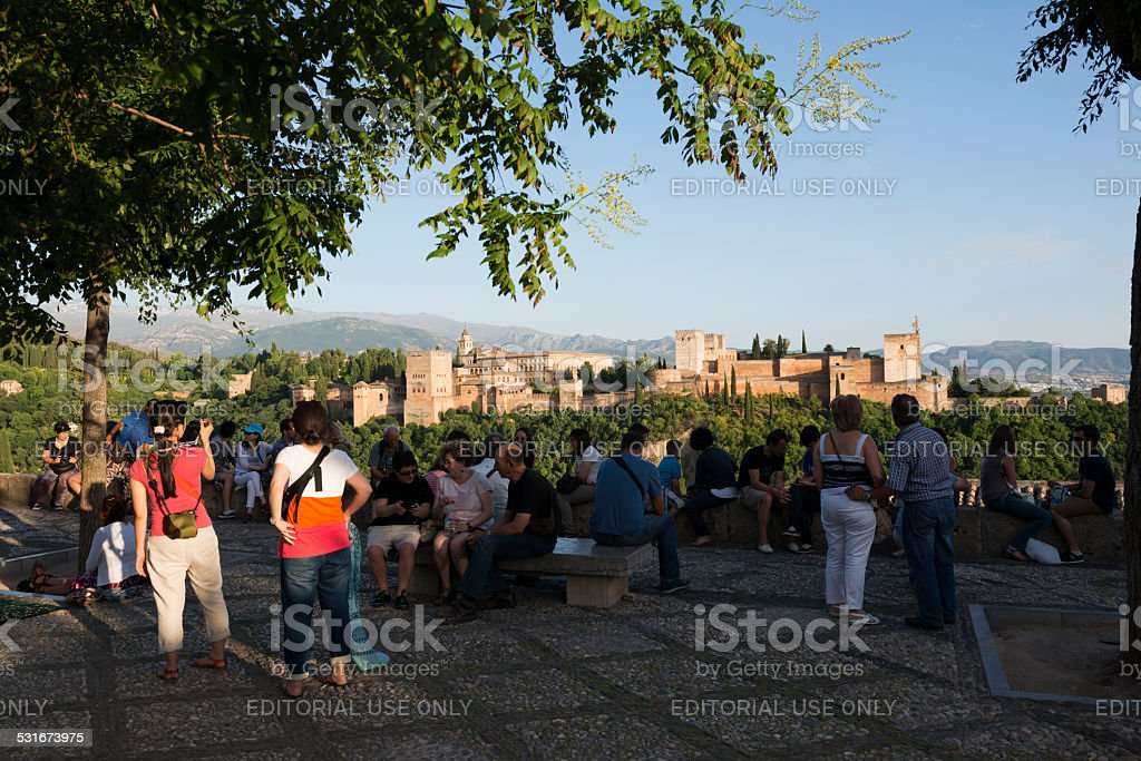 Afternoon view of the Alhambra in Granada, Spain stock photo