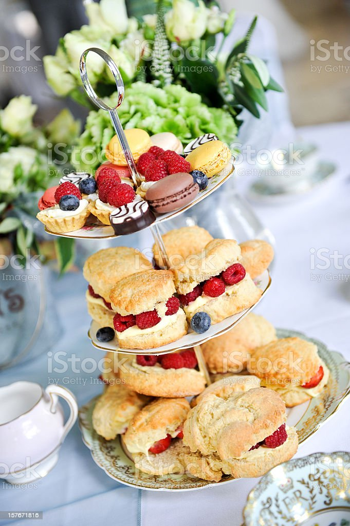 Afternoon wedding tea cakes royalty-free stock photo