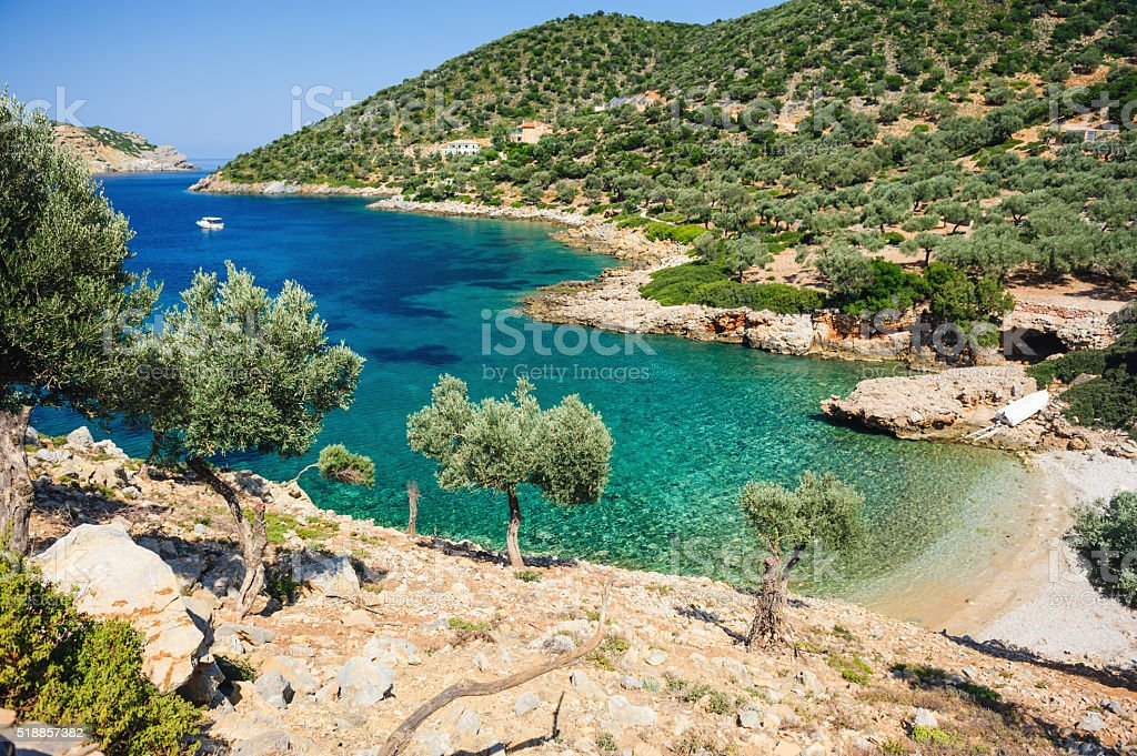 Agalou Laka beach from above Alonissos stock photo