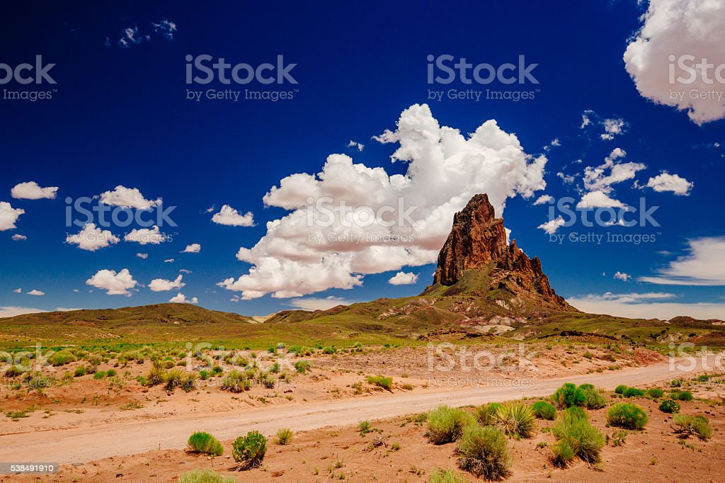 Agathla Peak, Highway 163, Arizona, USA stock photo