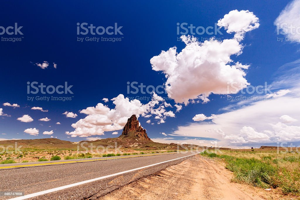 Agathla Peak, Highway 163, Arizona, USA stock photo