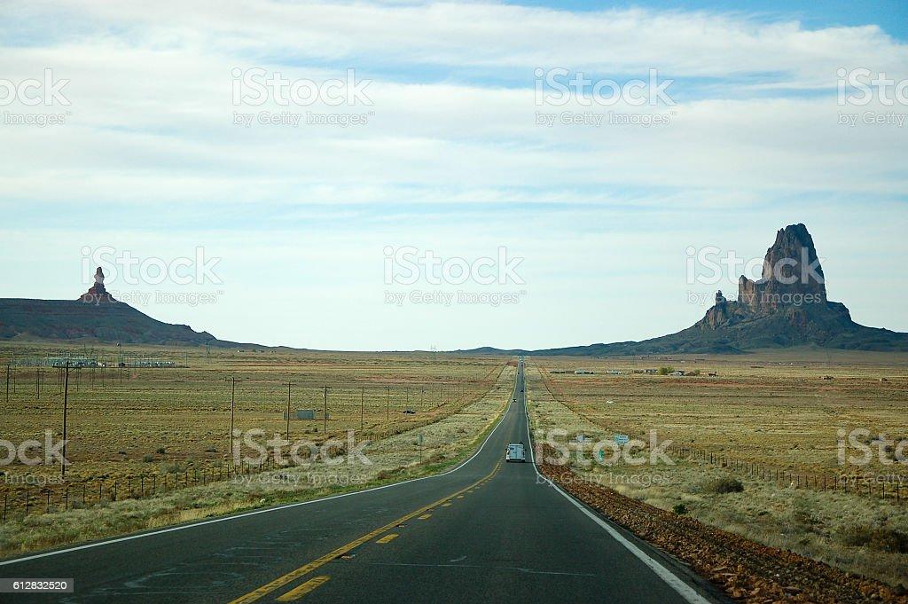 Agathla Peak, Monument Valley, highway in Arizona stock photo