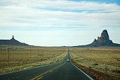 Agathla Peak, Monument Valley, highway in Arizona