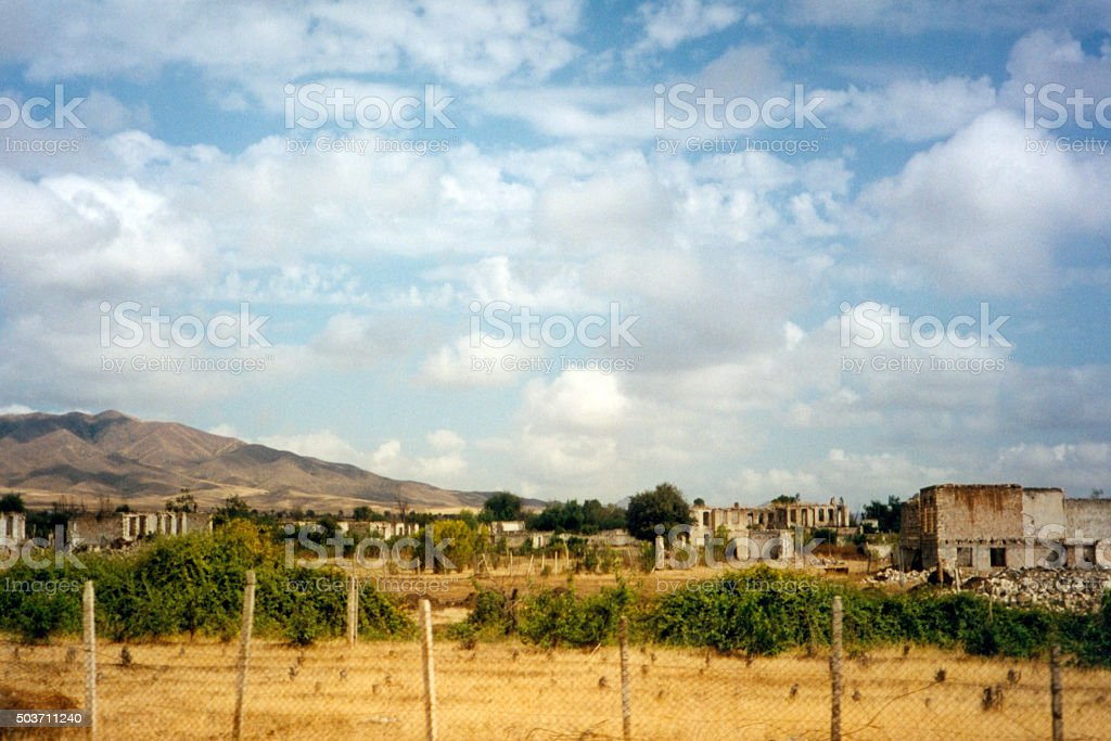 Agdam, Azerbaijan: ruins - area under Nagorno Karabakh control stock photo