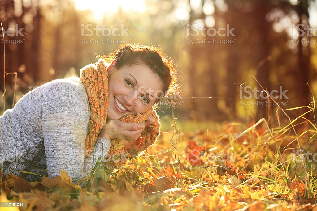 Age 20-25 Women often in the autumn forest royalty-free stock photo