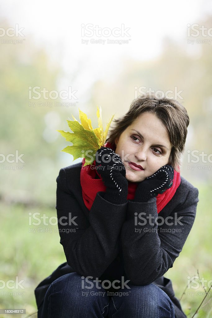 Age 30-35 Women often in the autumn forest royalty-free stock photo