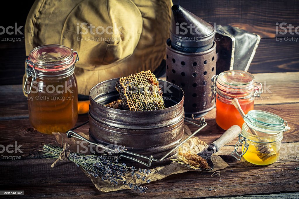 Age beekeeper tools in countryside stock photo