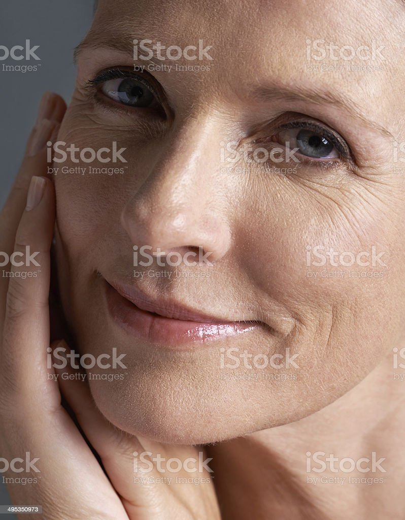 Age has no effect on her beauty! stock photo