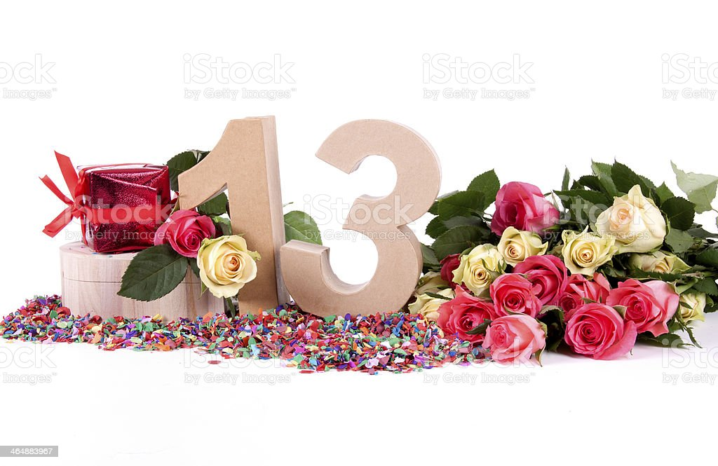 Age in figures, decorated with roses royalty-free stock photo