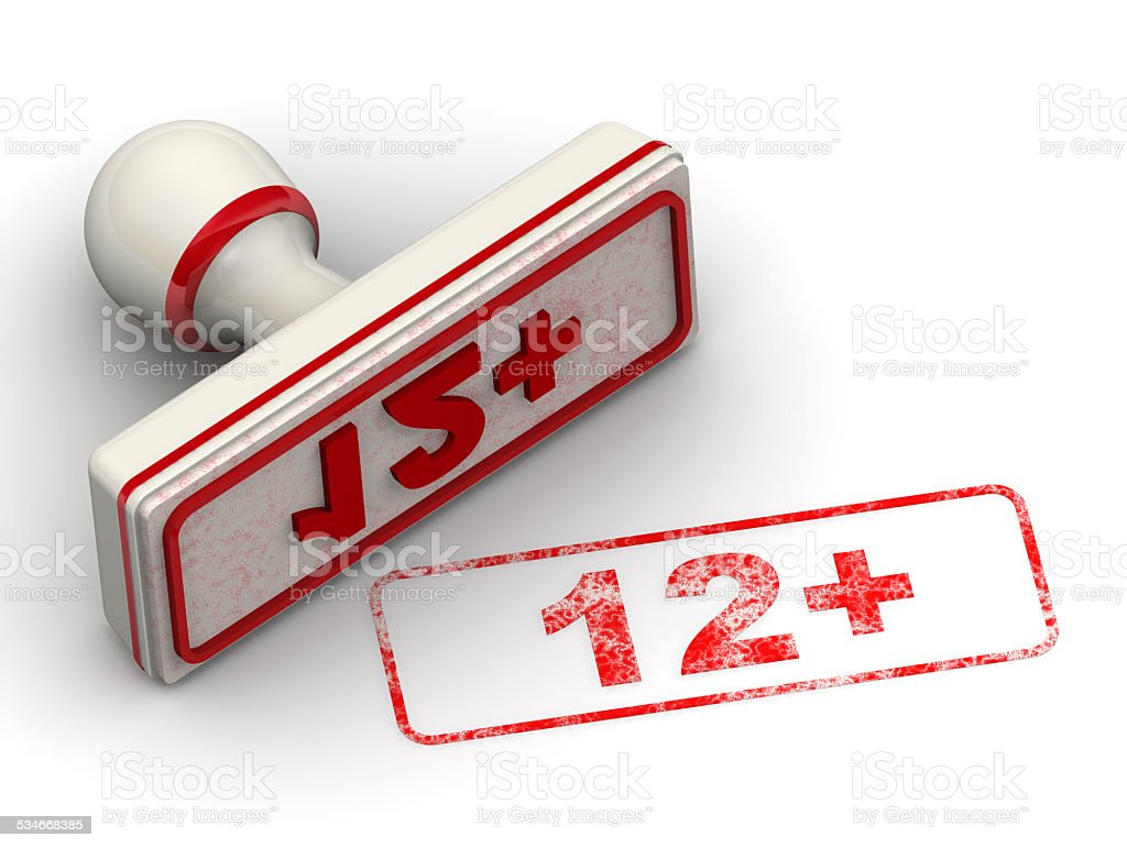 Age limit '12+'. Seal and imprint stock photo