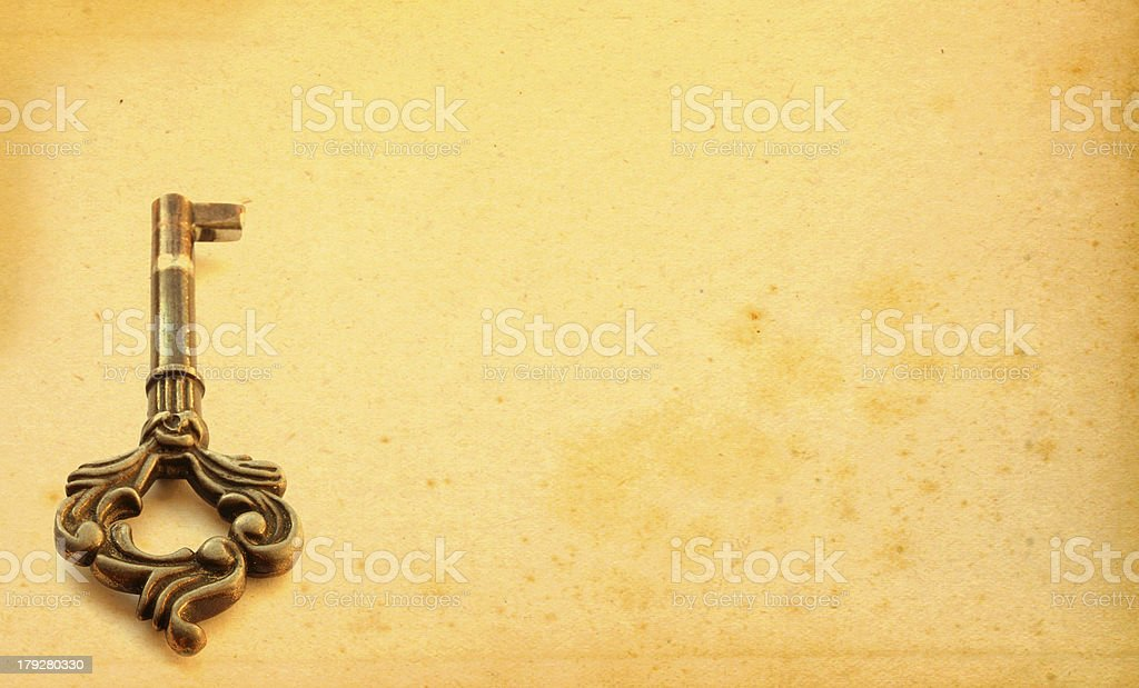 aged background with key motive stock photo