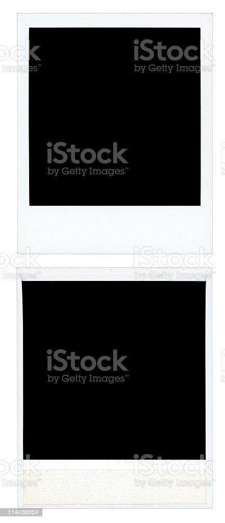 Aged blank photos with photo corners stock photo
