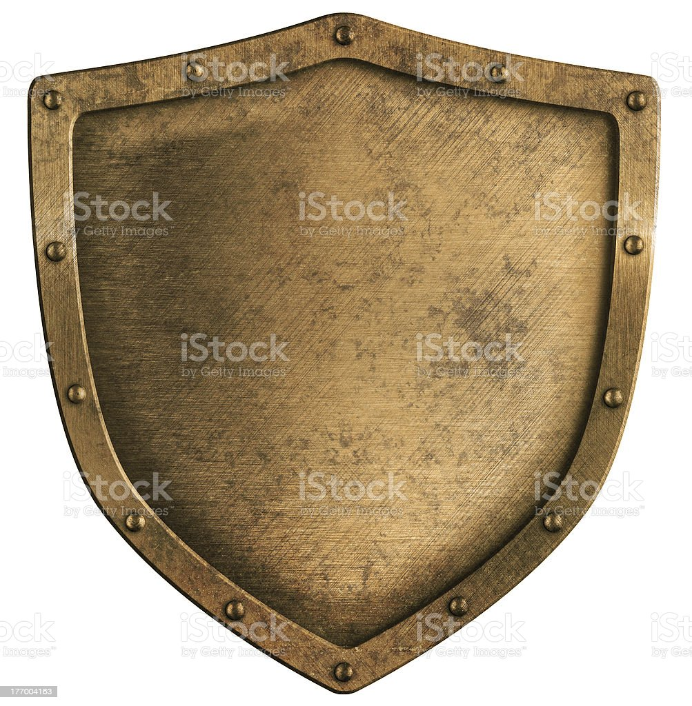 aged brass or bronze metal shield isolated on white stock photo