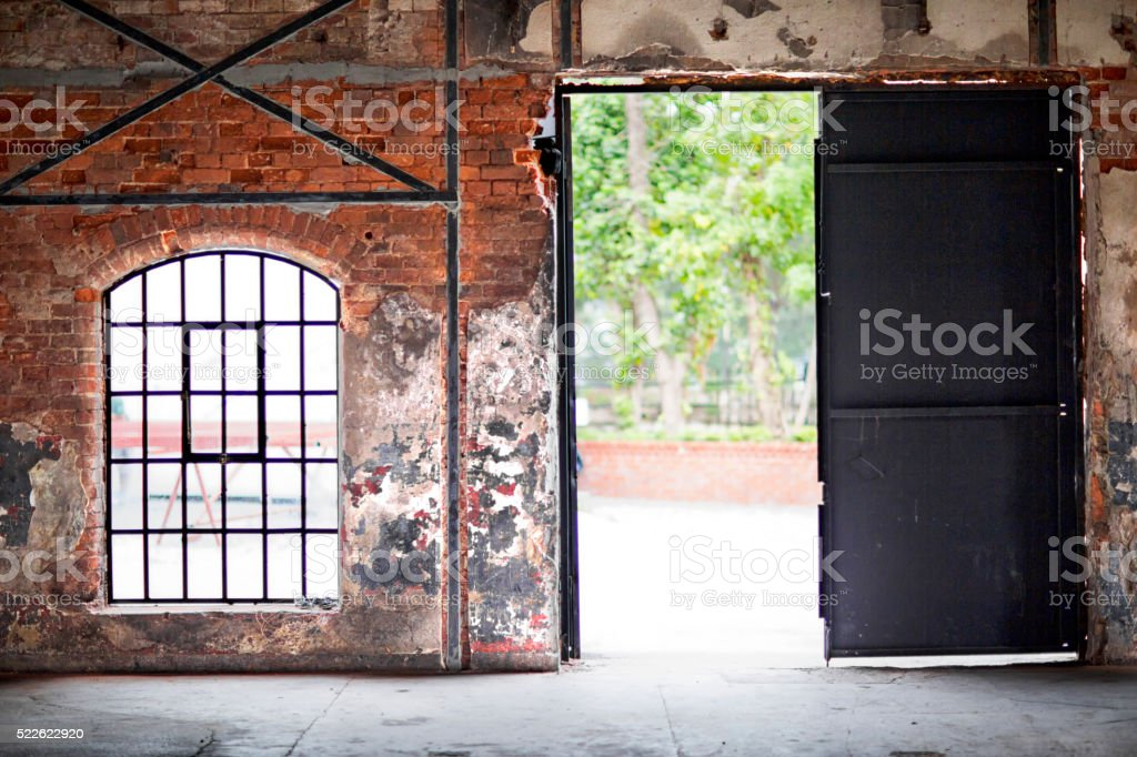 Aged Brick Wall , window and door stock photo