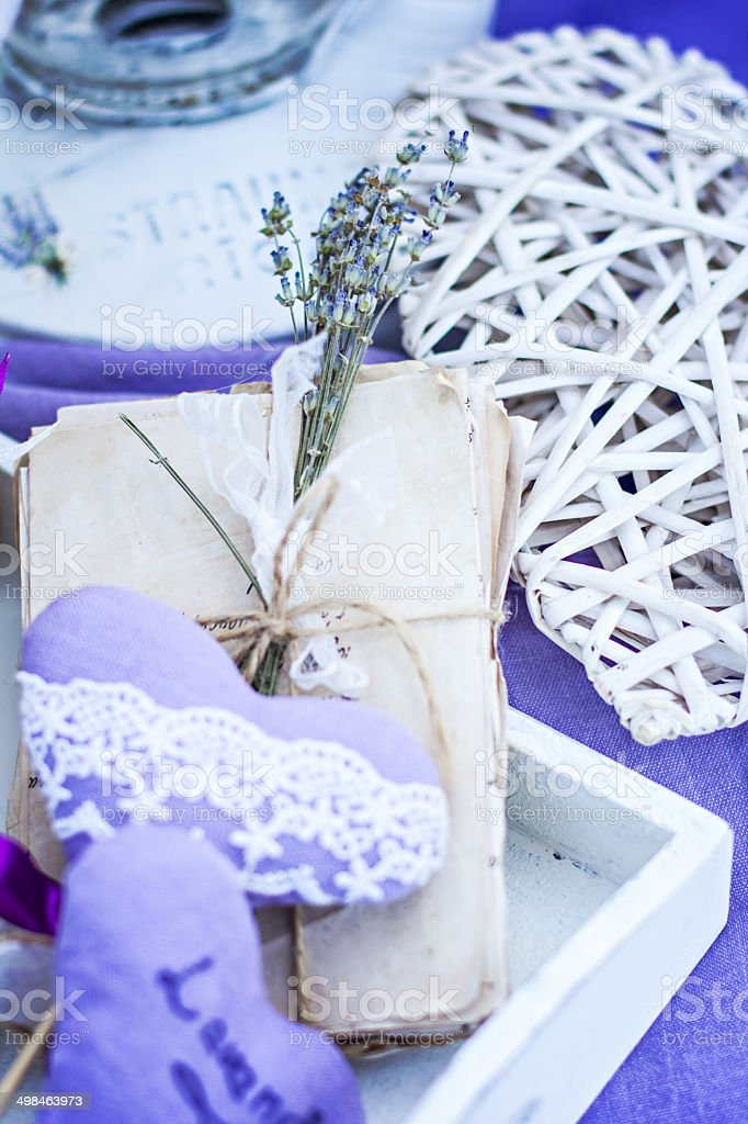 aged bunch of letters. lavender. Heart Hand Made royalty-free stock photo