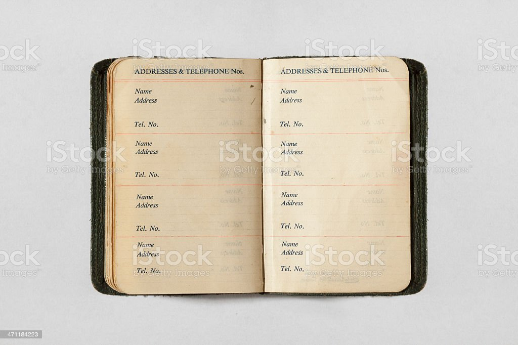 Aged calendar from 1950 showing addresses stock photo