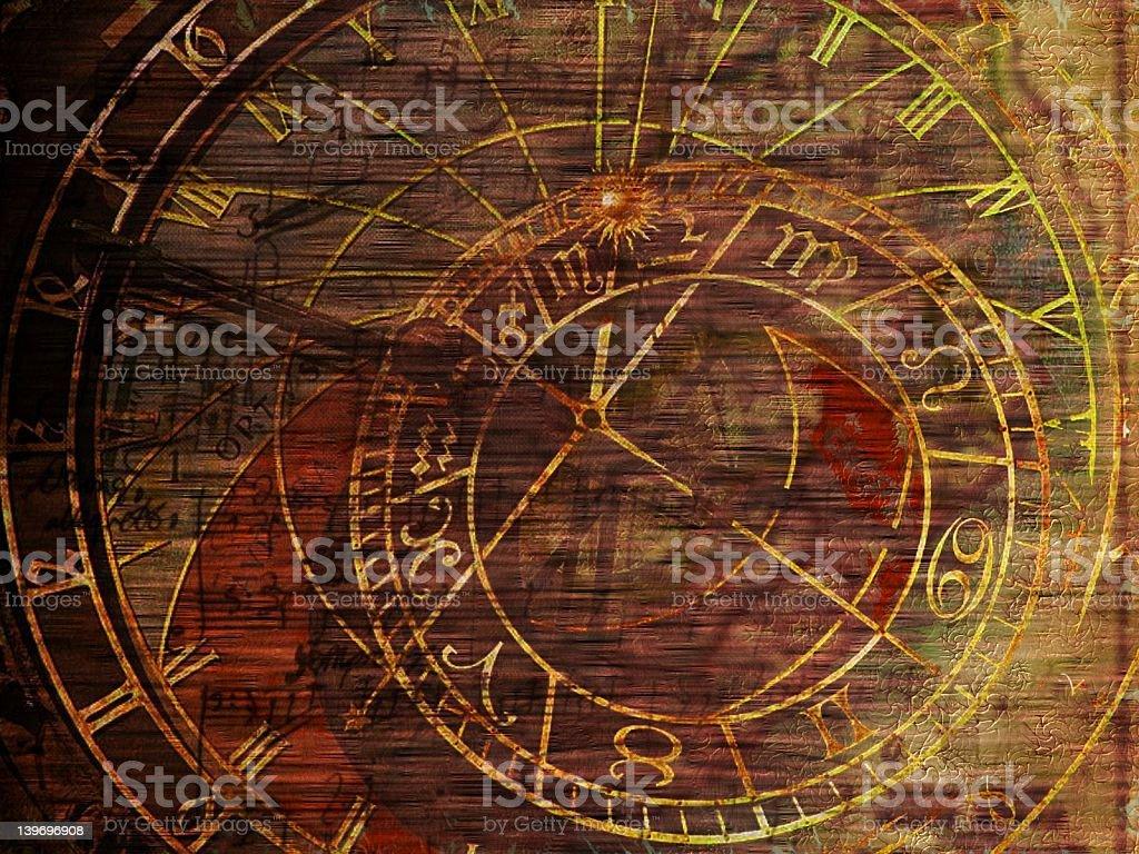 Aged clock stock photo