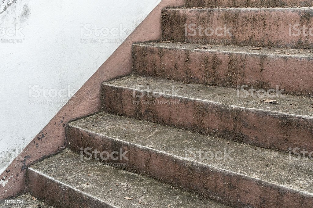 Aged concrete staircase stock photo